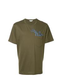 Camiseta con cuello circular estampada verde oliva de Gieves & Hawkes