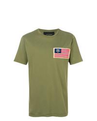 Camiseta con cuello circular estampada verde oliva de Mr & Mrs Italy