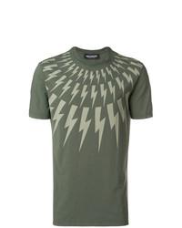 Camiseta con cuello circular estampada verde oliva de Neil Barrett