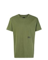Camiseta con cuello circular estampada verde oliva de RtA