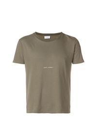 Camiseta con cuello circular estampada verde oliva de Saint Laurent