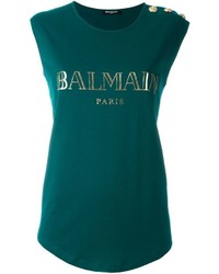 Camiseta con cuello circular estampada verde oscuro de Balmain