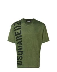 Camiseta con cuello circular estampada verde oscuro de DSQUARED2