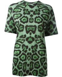 Camiseta con cuello circular estampada verde oscuro de Givenchy