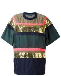 Camiseta con cuello circular estampada verde oscuro de Kolor