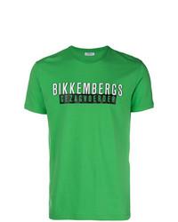 Camiseta con cuello circular estampada verde de Dirk Bikkembergs