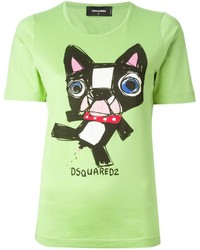 Camiseta con cuello circular estampada verde de DSquared