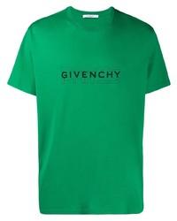 Camiseta con cuello circular estampada verde de Givenchy