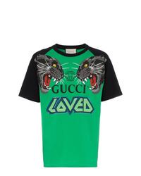 Camiseta con cuello circular estampada verde de Gucci