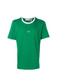 Camiseta con cuello circular estampada verde de Helmut Lang