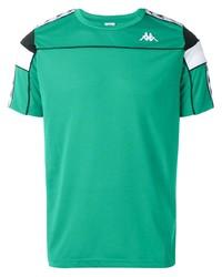 Camiseta con cuello circular estampada verde de Kappa