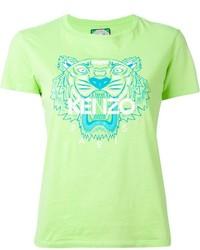 Camiseta con cuello circular estampada verde de Kenzo