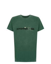 Camiseta con cuello circular estampada verde de OSKLEN