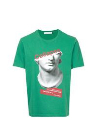 Camiseta con cuello circular estampada verde de Undercover