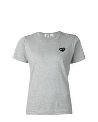 Camiseta con cuello circular gris de Comme Des Garcons Play
