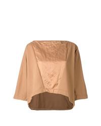 Camiseta con cuello circular marrón claro de Andrea Ya'aqov