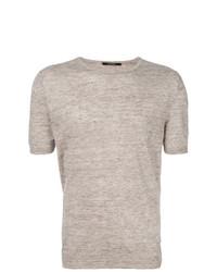 Camiseta con cuello circular marrón claro de Tagliatore