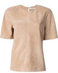 Camiseta con cuello circular marrón claro de Victoria Beckham