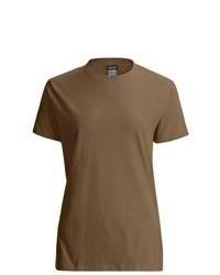 Camiseta con cuello circular marrón