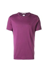 Camiseta con cuello circular morado de CP Company