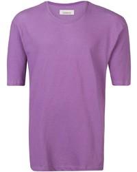 Camiseta con cuello circular morado de Laneus