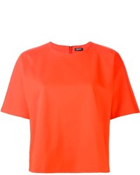 Camiseta con cuello circular naranja de Jil Sander