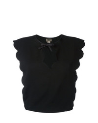 Camiseta con cuello circular negra de Giambattista Valli