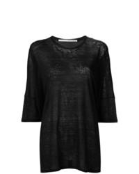 Camiseta con cuello circular negra de Isabel Benenato
