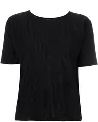 Camiseta con cuello circular negra de Issey Miyake