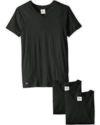 Camiseta con Cuello Circular Negra de Lacoste