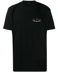 Camiseta con cuello circular negra de Marcelo Burlon County of Milan