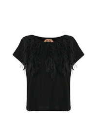 Camiseta con cuello circular negra de N°21