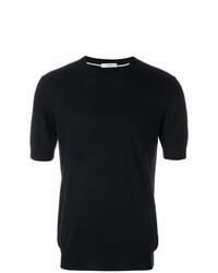 Camiseta con cuello circular negra de Paolo Pecora