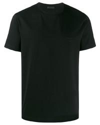 Camiseta con cuello circular negra de Prada
