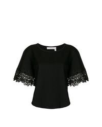 Camiseta con cuello circular negra de See by Chloe
