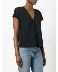 Camiseta con cuello circular negra de T by Alexander Wang