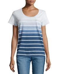 Camiseta con cuello circular ombre azul