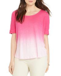 Camiseta con cuello circular ombre rosa