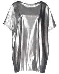 Camiseta con cuello circular plateada