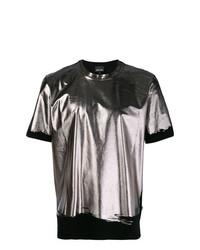 Camiseta con cuello circular plateada de Just Cavalli