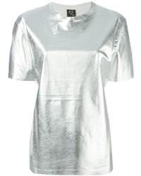 Camiseta con cuello circular plateada de McQ by Alexander McQueen