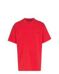 Camiseta con cuello circular roja de Balenciaga