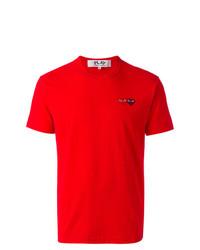 Camiseta con cuello circular roja de Comme Des Garcons Play