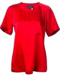 Camiseta con cuello circular roja de Lanvin