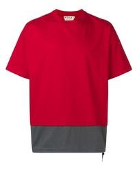 Camiseta con cuello circular roja de Marni
