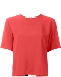 Camiseta con cuello circular roja de MSGM