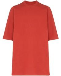 Camiseta con cuello circular roja de Rick Owens