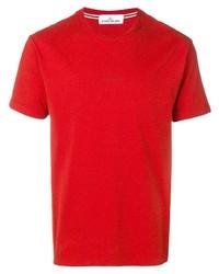 Camiseta con cuello circular roja de Stone Island
