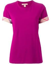 Camiseta con cuello circular rosa de Burberry