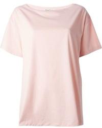 Camiseta con cuello circular rosada de Acne Studios
